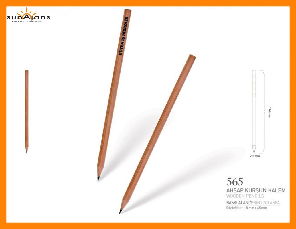 565 naturel kurşun kalem ahşap gövde